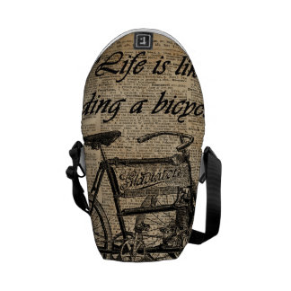 Vintage Tricycle Dictionary Art Bicycle Quote Courier Bag