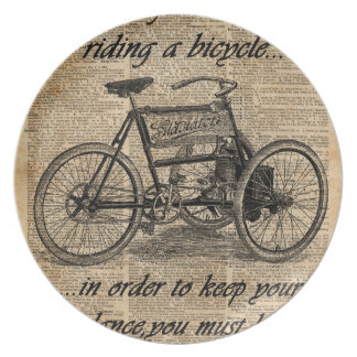 Vintage Tricycle Dictionary Art Bicycle Quote Dinner Plate