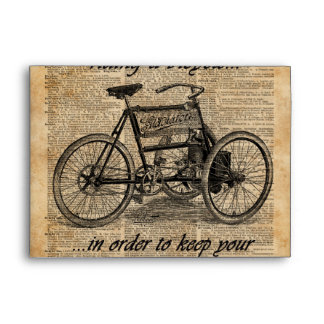 Vintage Tricycle Dictionary Art Bicycle Quote Envelope