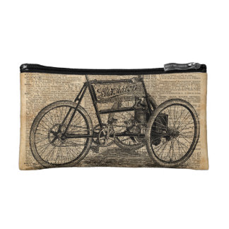 Vintage Tricycle Dictionary Art Bicycle Quote Makeup Bag