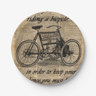 Vintage Tricycle Dictionary Art Bicycle Quote Paper Plate