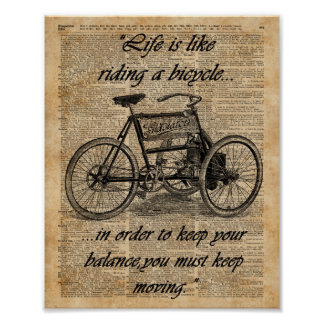 Vintage Tricycle Dictionary Art Bicycle Quote Poster