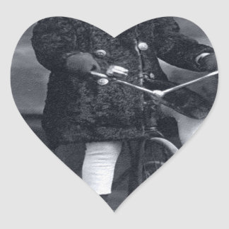 Vintage Tricycle Girl Heart Sticker