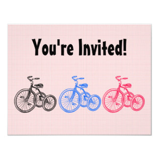 """Vintage Tricycles 4.25"""" X 5.5"""" Invitation Card"""
