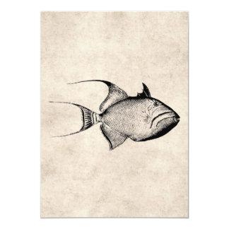 Vintage Trigger Fish Antique Hawaiian Print 5x7 Paper Invitation Card