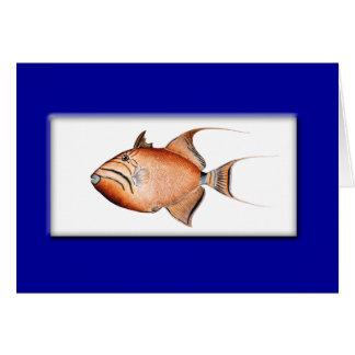 Vintage Triggerfish painting Card