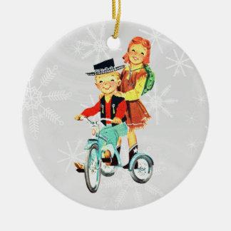 Vintage Trike Ornamento De Navidad