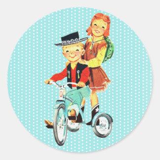 Vintage Trike Pegatinas Redondas
