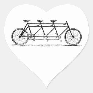 Vintage Triple Bicycle Heart Sticker