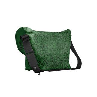 Vintage Triskle Celtic Trinity Knot Emerald Green Small Messenger Bag