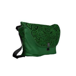 Vintage Triskle Celtic Trinity Knot Ivy Green Small Messenger Bag