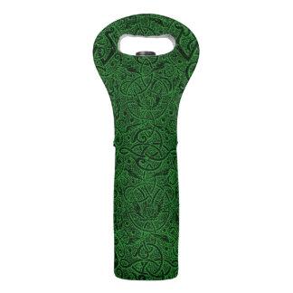 Vintage Triskle Celtic Trinity Knot Ivy Green Wine Bag