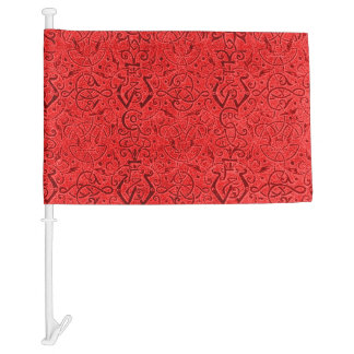 Vintage Triskle Celtic Trinity Knot Red Car Flag