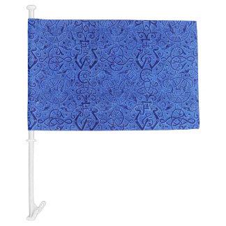 Vintage Triskle Celtic Trinity Knot Sapphire Blue Car Flag