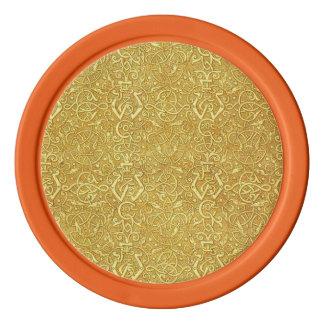 Vintage Triskle Celtic Trinity Knot Yellow Gold Poker Chip Set