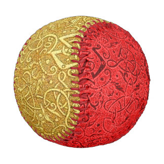 Vintage Triskle Yellow Gold and Red Baseball