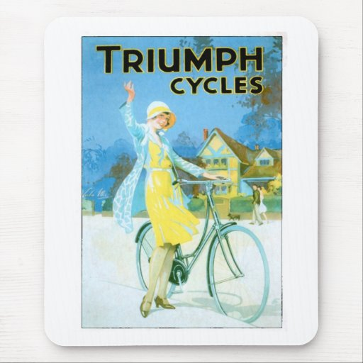 Vintage Triumph Cycles Bicycle Poster Mouse Pad