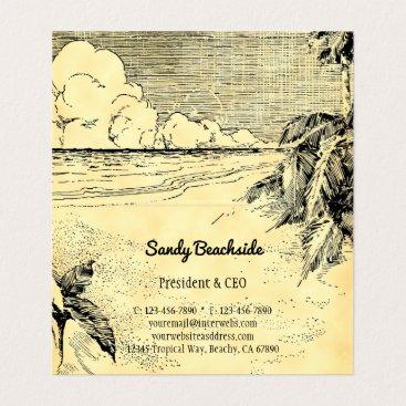 Professional Business Vintage Tropical Beach Custom Folded Business Card