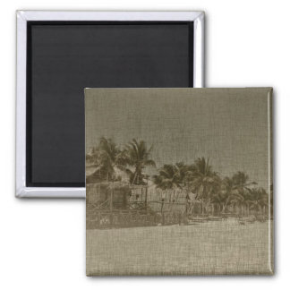 Vintage Tropical Beach Huts Magnet