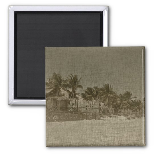 Vintage Tropical Beach Huts Magnet