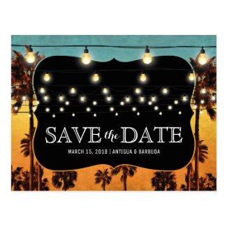 Vintage Tropical Beach Palm Hawaiian Save the Date Postcard