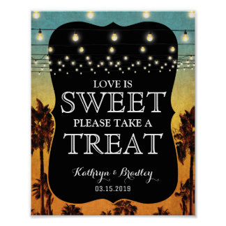 Vintage Tropical Beach Palm Hawaiian Sweet Treat Poster