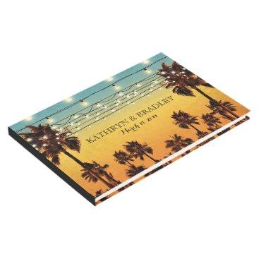 Beach Themed Vintage Tropical Beach Palm Hawaiian Wedding Guest Book