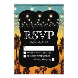Vintage Tropical Beach Palm Hawaiian Wedding RSVP Card