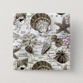 vintage tropical beach seashell wedding pinback button