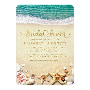 Beach Themed Vintage Tropical Beach Starfish Bridal Shower Card