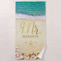Vintage Tropical Beach Starfish Personalized Mr. Beach Towel