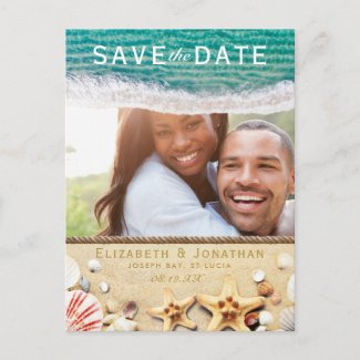 Vintage Tropical Beach Starfish Save the Date Announcement Postcard