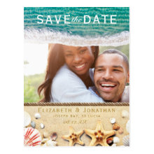 Vintage Tropical Beach Starfish Save the Date