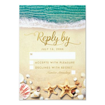 Beach Themed Vintage Tropical Beach Starfish Shell Wedding RSVP Card