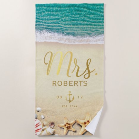 Vintage Tropical Beach Starfish Shells Mrs. Bride Beach Towel