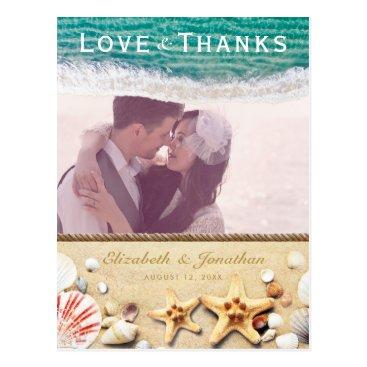 Beach Themed Vintage Tropical Beach Starfish Shells Thank You Postcard