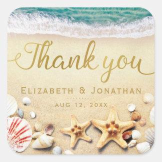 Vintage Tropical Beach Starfish Shells Thank You Square Sticker
