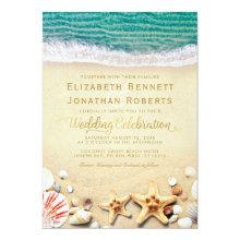 Vintage Tropical Beach Starfish Shells Wedding
