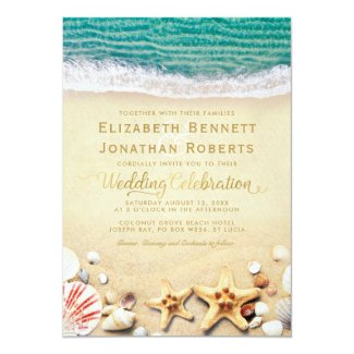 Vintage Tropical Beach Starfish Shells Wedding Invitation