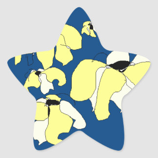 Vintage Tropical Block blue yellow floral Star Sticker