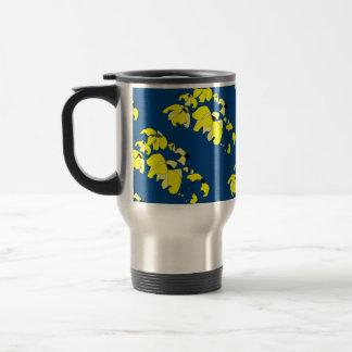 Vintage Tropical Block blue yellow floral Travel Mug