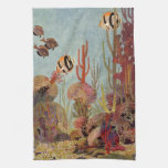 Vintage Tropical Fish and Coral in the Ocean Kitchen Towels
