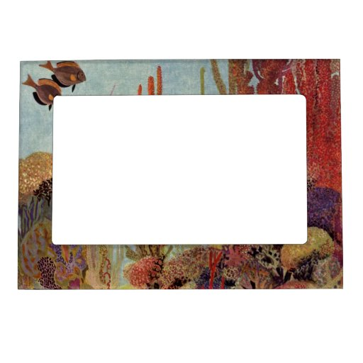 Vintage Tropical Fish and Coral in the Ocean Photo Frame Magnets