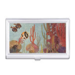 Vintage Tropical Fish and Coral in the Ocean Business Card Case