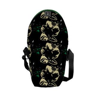 Vintage Tropical floral black cream pattern Courier Bag