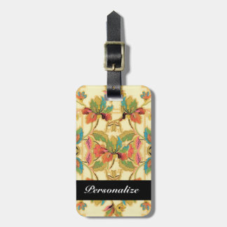 Vintage Tropical Floral Wallpaper Pattern Luggage Tag