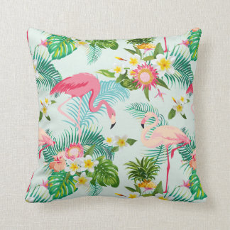 Vintage Tropical Flowers And Birds Throw Pillow