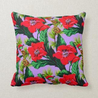 Vintage Tropical Flowers Florida Hawaii Decor Throw Pillow