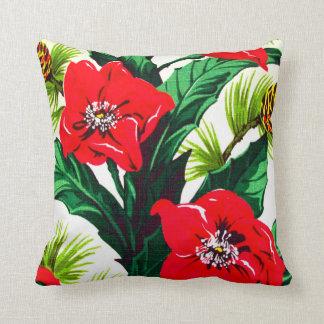 Vintage Tropical Flowers Florida Hawaii Decor Throw Pillows