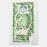 Vintage Tropical Garden Design Illustration Print Hand Towels
